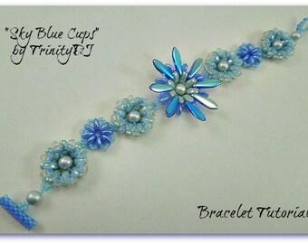 BP-BRA-006-2017-056 - Sky Blue Cups - Bracelet Tutorial, seed bead jewelry, beadweaving pattern, beaded bracelet, beadwork