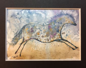 "Horse Art: The Very Shiny Pony. Small 2 5/8"" x3 3/4"" Original Ink Drawing. Inks on Acid Free Yupo, Matted 4""x6"""