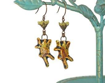 Enchanted Ceramic Fairy Earrings with Vintage Lucite Flowers in Sage and Brown with Vintaj Antique Brass Components OOAK Victorian/Woodland