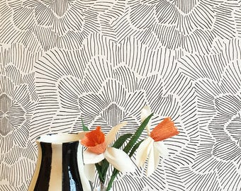 Pinstripe Floral Removable Wallpaper Black and White / Assorted lengths / Perfect for Renters and owners