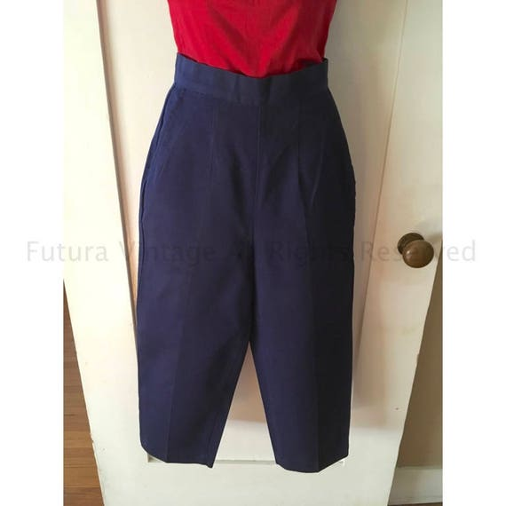 1950s Adorable JANTZEN Navy Blue High Waist Capris with Pockets-XS