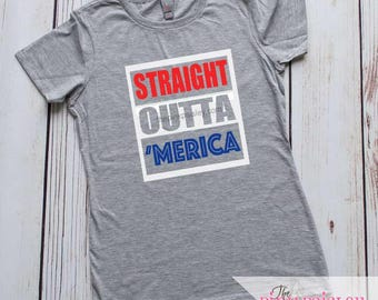 Straight Outta Merica Shirt | Youth 4th of July T-Shirt | Patriotic Kids Shirt| Kids 4th of July | Child 4th of July