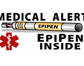 "Medical Alert Epipen Inside 2""x4"" - Leash Wrap (no clip accessory) & Clip On Patch Badge: CUSTOM RESERVE FOR- Jillian Bell"