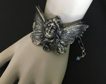 Fairy Bracelet, Magical, Butterfly Wings, Bracelet Jewelry , Quality Thick Sterling Silver Plate, USA Metals, Handmade, Rings Added
