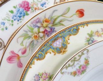 "4 Vintage Mismatched 8.5"" to 9"" Fine China Luncheon, Salad or Dessert Plates, Pink Florals, Set Lot LP28"