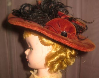 Lovely Antique Doll Hat, Victorian, Burgundy Velvet, Glass Buttons, Ostrich Feather Detail