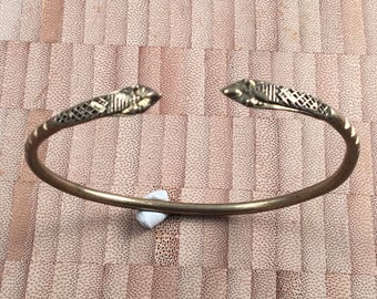 Vintage Solid Brass Snake Serpent Large Bangle