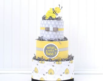 Gender Reveal Ideas, He or She What Will it Bee Gender Reveal Diaper Cake, Baby Gender Reveal Cake, Bee Baby Shower, He or She Gender Reveal