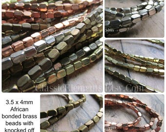 3.5 x 4mm Strand African Metal Beads, Choice of Finish, African Brass Beads, African Beads, Brass Beads, Bead Strands