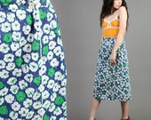 vintage 70s MOD FLORAL high waist PENCIL wrap colorful midi skirt cute hippie boho