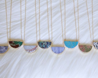 Chrysoprase, Jasper, Agate, Turquoise, or Abalone Half Moon Necklace