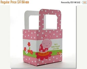 Sale Baby Shower Favor Boxes - Modern Ladybug Pink - Personalized Custom Party Treat Container Gift Bags - Set Of 10