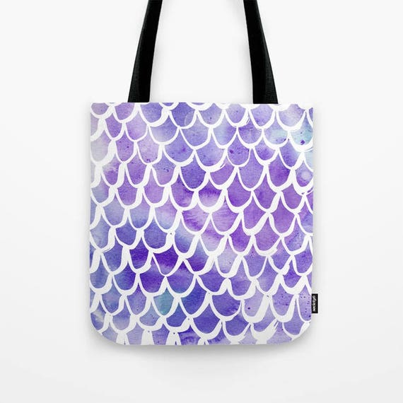 Tote bag Purple Mermaid tote bag Watercolor tote bag White Mermaid tote bag tote Canvas bag Shopping bag Sea green tote bag Summer bag