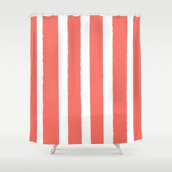 Coral Shower Curtain - Stripe Shower Curtain - Modern Shower Curtain - Salmon Shower Curtain - Striped Shower Curtain - Coral Bath Decor