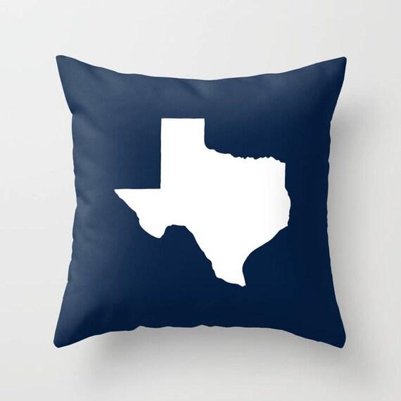 OUTDOOR Throw Pillow . Texas Outdoor Pillow . Navy blue patio cushion . 16 18 20 inch . Navy Texas State Outside Lumbar Pillow . Texan Pride