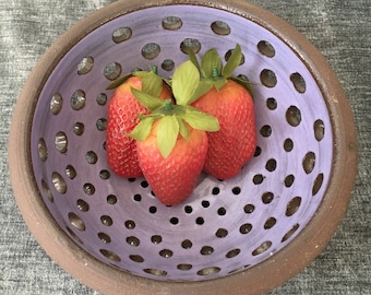 Ceramic Berry Bowl, Colander in Lavender