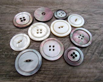 Lot of Ten Vintage Large Round Mother of Pearl Buttons