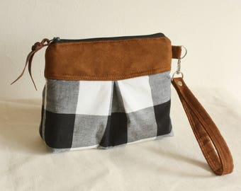 Chevron pleated wristlet, pouch, clutch, wallet, canvas and faux suede plaid - READY-