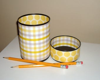 Gray and Yellow Desk Accessories / Preppy Pencil Holder / Checkered Polka Dot Pencil Cup / Office Desk Organizer / Dorm Decor - 1084