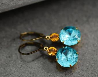 SEA BREEZE Crystal Real Vintage Earrings