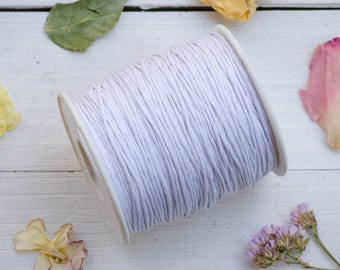 White Waxed Cotton Cord  1mm, 75 meter Spool, Jewelry Cord