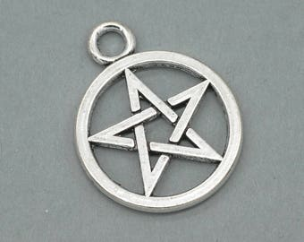 Pentagram Charms, Metal Pendant, 10pcs, 20mm, Silver Charms, Pentagram Pendant -c88
