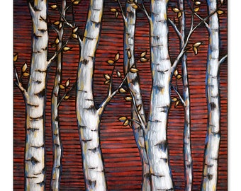 Aspens on Red Wood Burning & Painting - Original