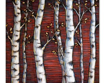 Aspens on Red Wood Burning & Painting - Print
