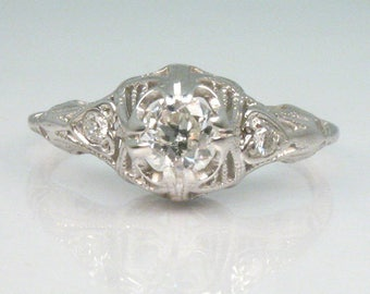 Old European Cut Diamond Engagement Ring – 18K White Gold - Three Stone Ring