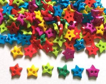 100 pcs star buttons 2 holes mix bright colors size 10mm