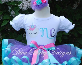 Baby girl first birthday outfit unicorn ONE TWO THREE four five birthday outfit girls 1st 2nd 3rd 4th 5th ribbon trim tutu aqua purple pink