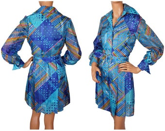 1970s Dress Blue Graphic Print - S