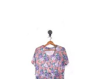 BTS SALE Vintage 80s Handmade Floral Pastel Short Sleeved Summer Swing Dress women l xl plus size vestiesteam ooak grunge preppy boho indie