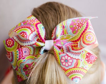 Hair Bow - Dark Groovy Print Pinwheel Bow