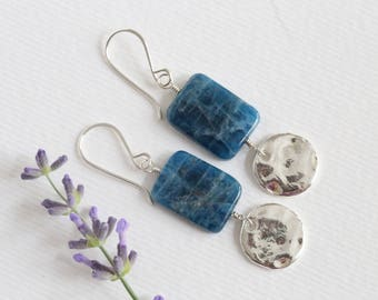 katherine sheetz earrings silver and blue stone