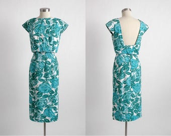 1950s 1960s vintage Garfinkel's cotton curve-hugging dress * 5S958