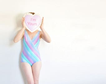 pastel striped unicorn maillot swimsuit . 1980 one piece chevron Jantzen bathing suit .small.medium