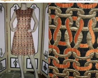 ON SALE Vintage 1960's Dress. Gorgeous Gold Metallic, Black and Orange Cocktail Dress. Medium to Large.