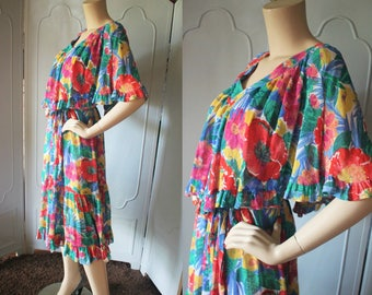 1970's Gauze Dress in Exquisite Floral Print with Shoulder Drape and Tie Belt by ROPA of California.