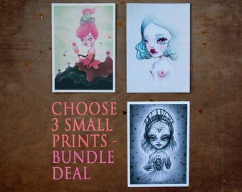 "3 small prints bundle deal - choose any 3 - 5x7"" - lowbrow - popsurrealism - Big Eyes - curious art by MissFelix"