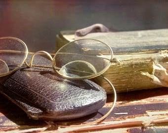 Forgotten, old glasses, worn book, rough edges, I love books, Fine Art Photograph, 8x10
