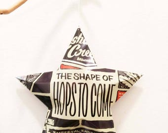 The Shape Of Hops To Come | Recycled Aluminum Beer Can Star, Christmas Ornament. Neshaminy Creek Brewing Company