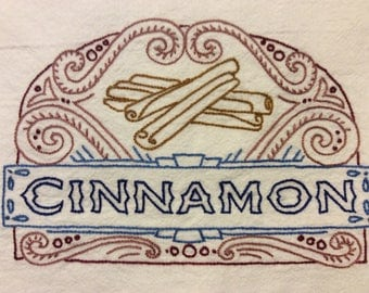 Cinnamon Hand Embroidered Floursack Dishtowel