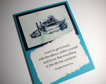 THE SILENCE WITHIN ~ Mixed Media Collage Card, quote by Elisabeth Kubler-Ross