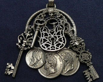 Vintage Dangling Keys Locks & Coins Pendant BIG for Necklace French Replica Coins Padlock