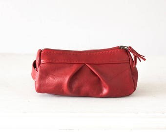 Red leather accessory bag, makeup case cosmetic bag zipper pouch travel zipper case vanity storage - Estia Bag