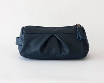 Blue makeup bag leather, pencil case accessory bag cosmetic case toiletry case vanity bag utility case travel zipper case -Estia Bag