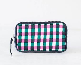 Black handwoven zipper pouch, coin purse zipper phone case money bag iphone 7 case credit card zip purse handbag - The Antheia Zipper pouch
