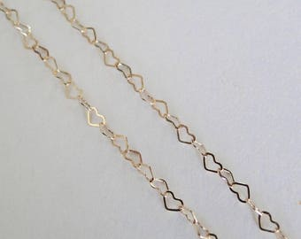 ANY LENGTH - 14K Gold Filled 3mm Heart Chain - Custom Lengths Available, Made in USA