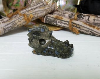 Gemstone Dragon Head Skull - Rhyolite